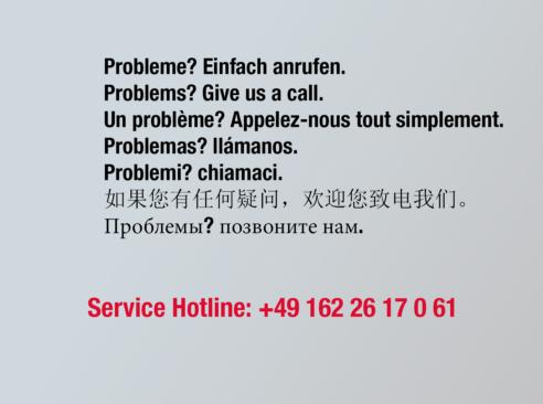 Service Hotline: +491622617061